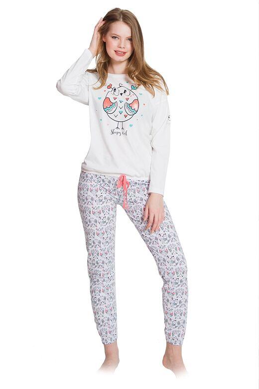 Dámske pyžamo Marry sová biele