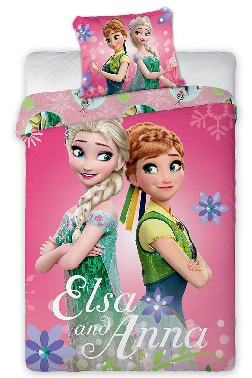 Detské obliečky Ľadové kráľovstvo - Elsa a Anna ružové