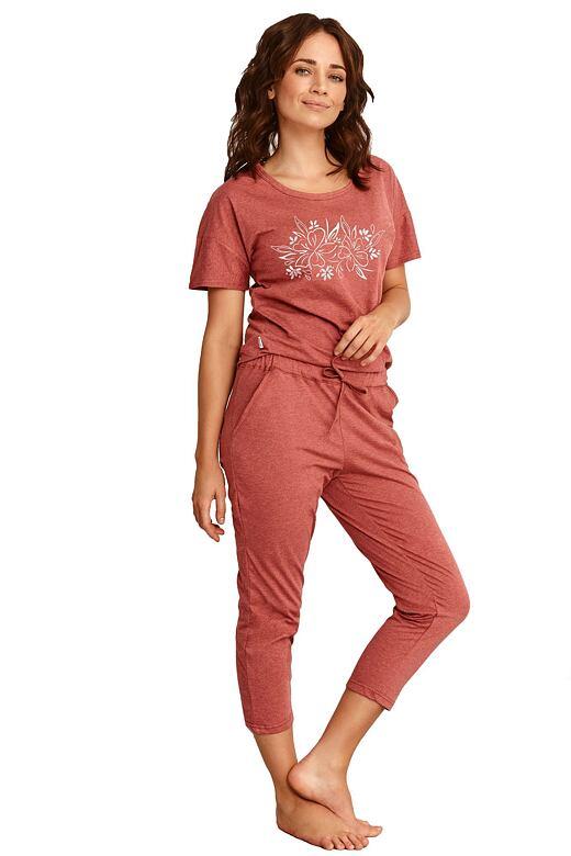 Dámske pyžamo Alexa vínové s kvetmi