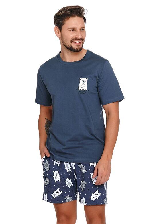 Pánske pyžamo Kenneth modré s medveďmi
