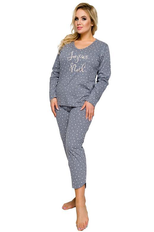 Dámske bavlnené pyžamo Jurata sivé s hviezdičkami