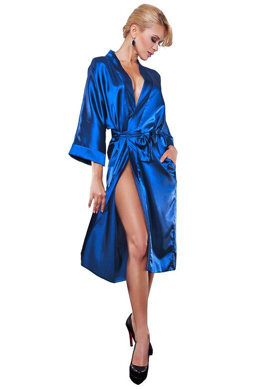 Saténový dámsky župan 115 modrý - darčekové balenie