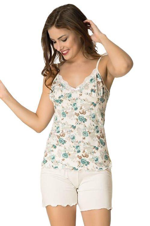 Dámske pyžamo 11035 Iveta biele s kvetmi