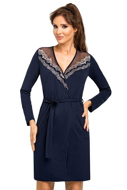 Luxusný dámsky župan Jasmine tmavo modrý - darčekové balenie