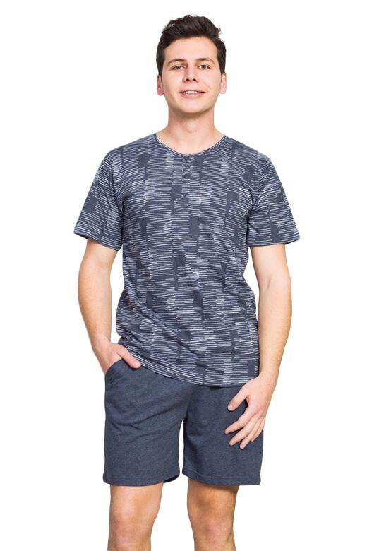 Pánske pyžamo Magnum pruhy šedé