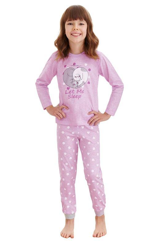 Dievčenské pyžamo Elza fialové mačky