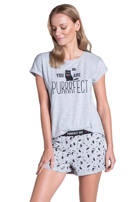 Krátke dámske pyžamo Timber sivé