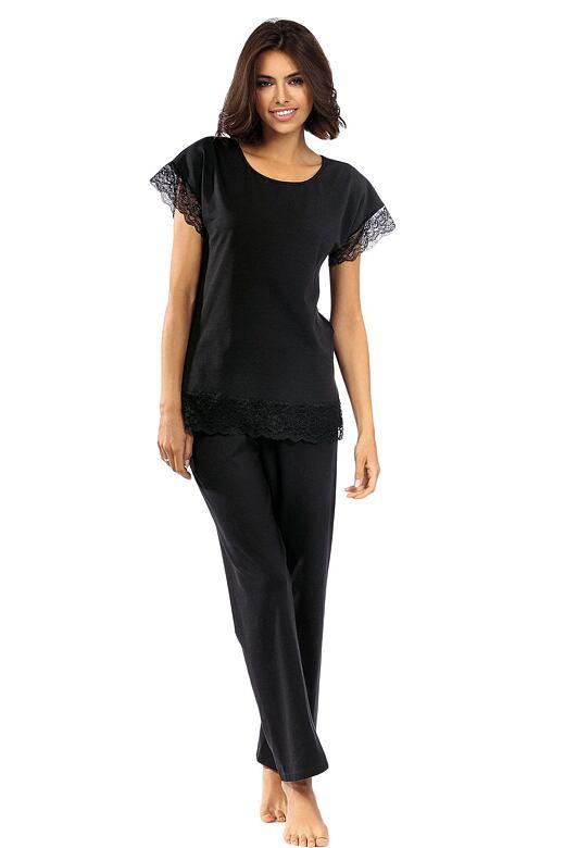 Dámske pyžamo Avery čierne s čipkou
