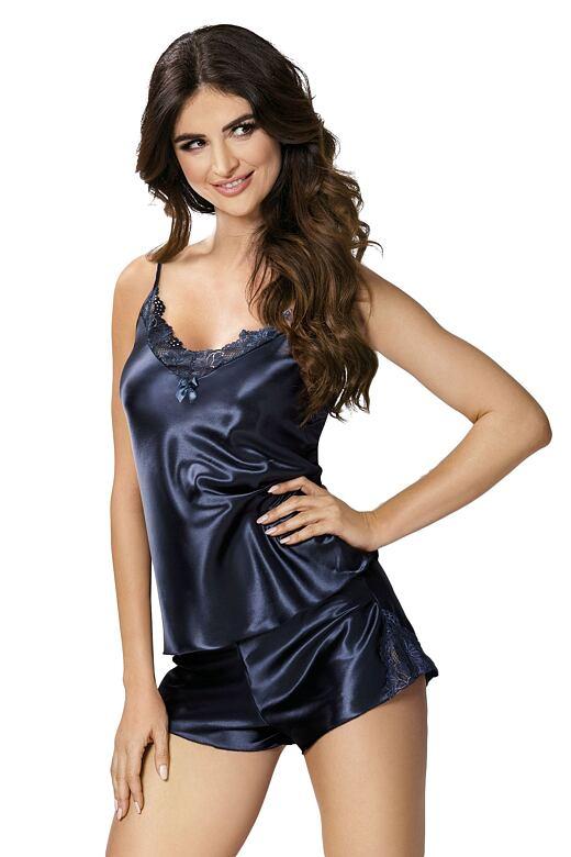 Dámske saténové pyžamo Silvie tmavo modré - darčekové balenie