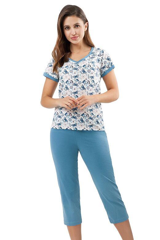 Bavlnené pyžamo Laura modré motýle