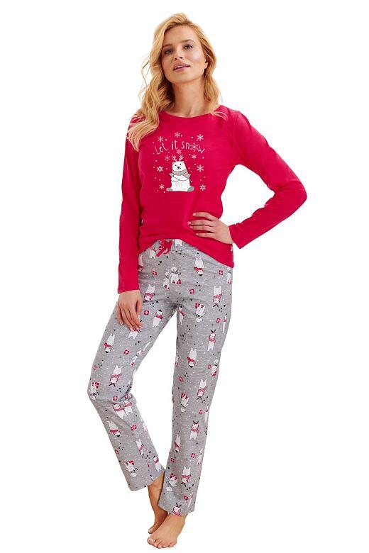 Dámske pyžamo Maja Snow červené