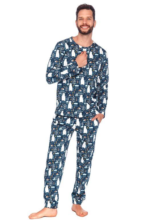 Pánske pyžamo Lesný medveď modré