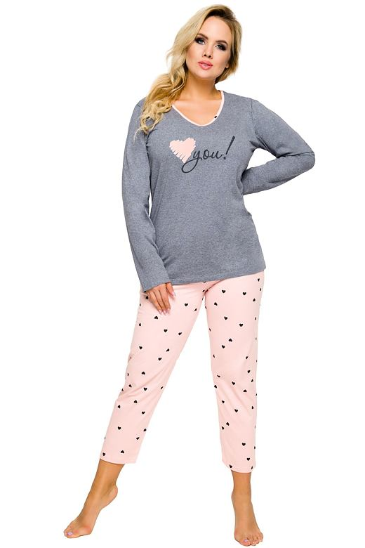 Dámske bavlnené pyžamo Lena šedo ružové