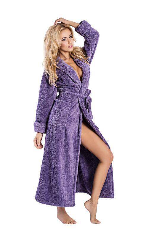 Dlhý huňatý župan Eliza fialový