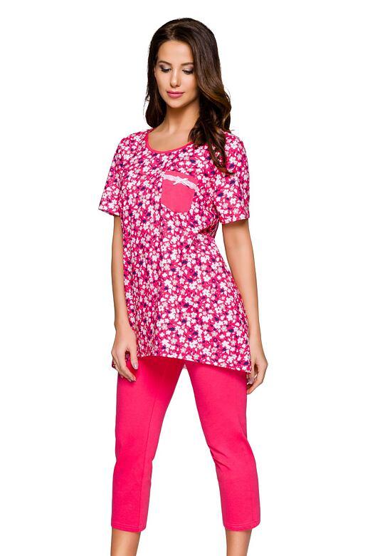 Dámske pyžamo Darina malinové s kvetmi
