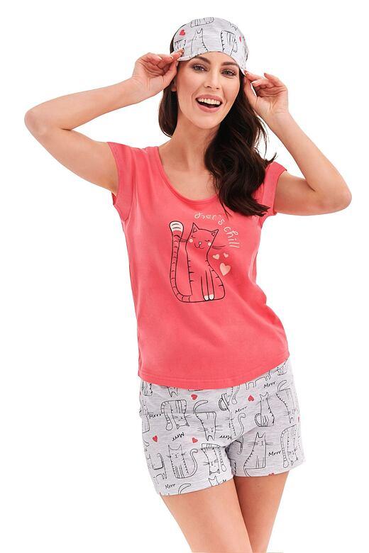 Dámske pyžamo Eva ružové cat