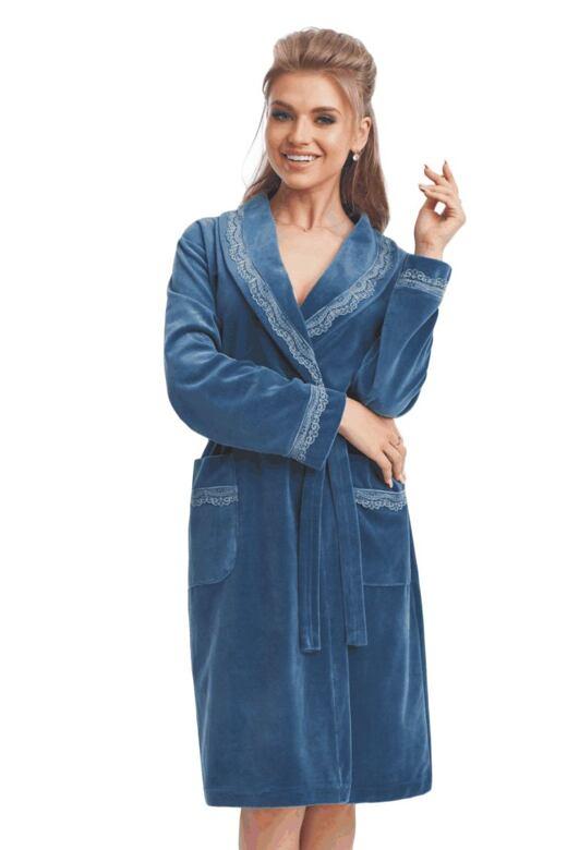 Velúrový župan s čipkou Ina modrý