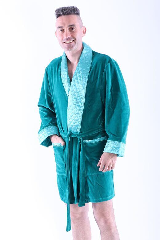 Luxusný pánsky župan Bonjour tmavo zelený