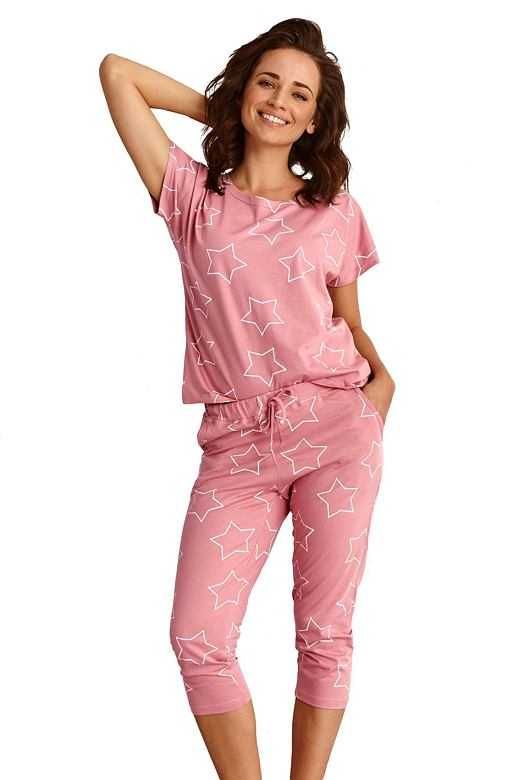 Dámske pyžamo Oksa ružové s hviezdami