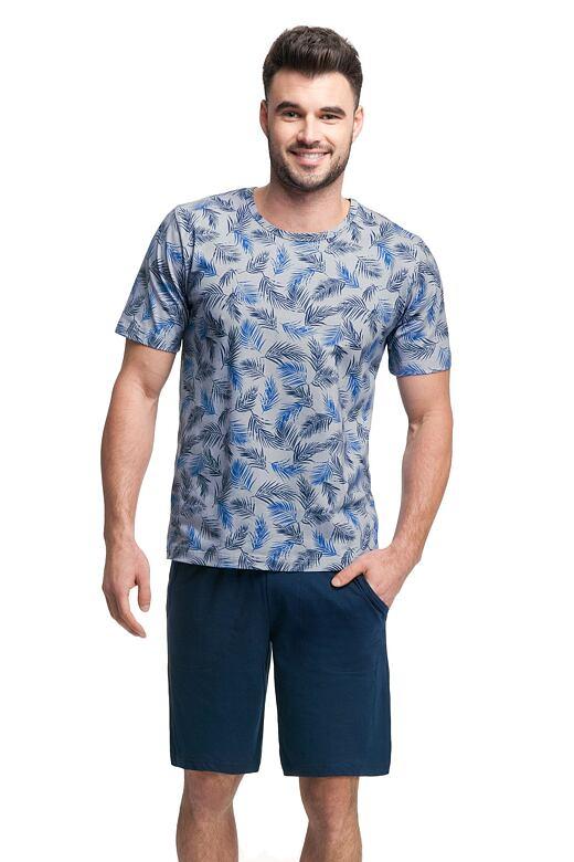 Pánske pyžamo Carlos sivé s modrými listmi