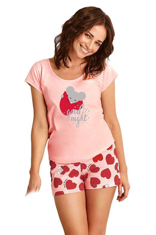 Dámske pyžamo Eva ružové so srdiečkami