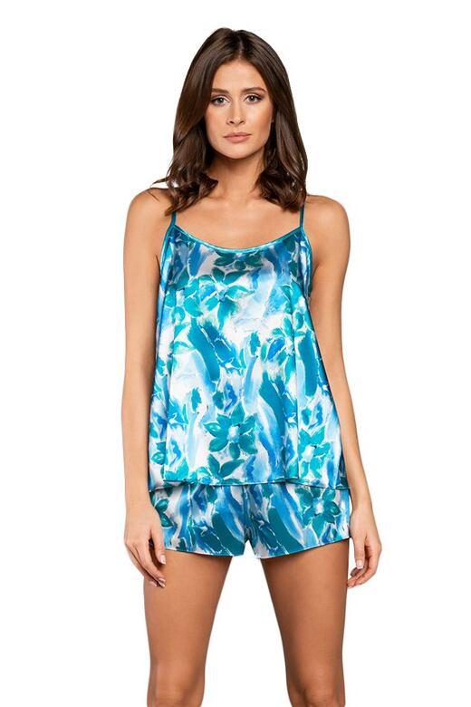 Dámske saténové pyžamo Pacifik modré