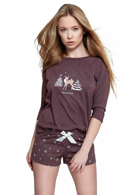 Krátke dámske pyžamo Mystique vínové
