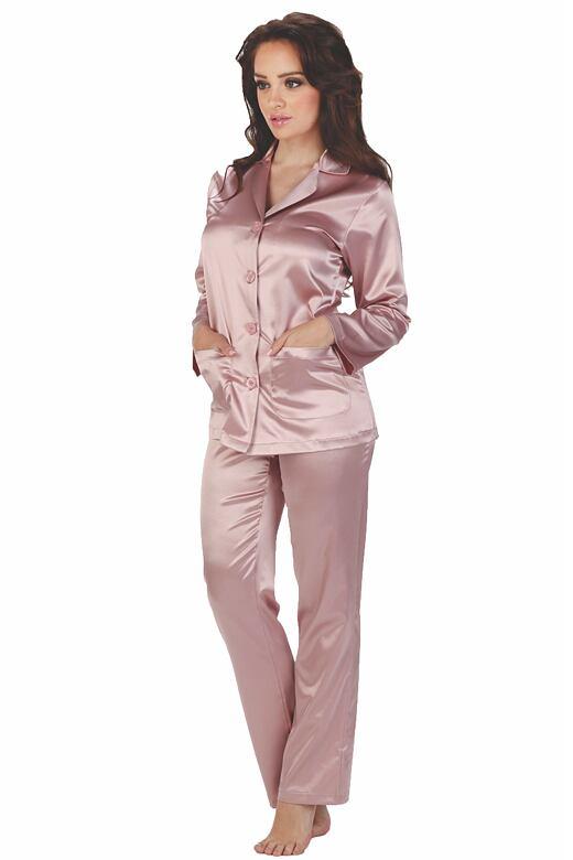 Dámske saténové pyžamo Classic dlhé ružové