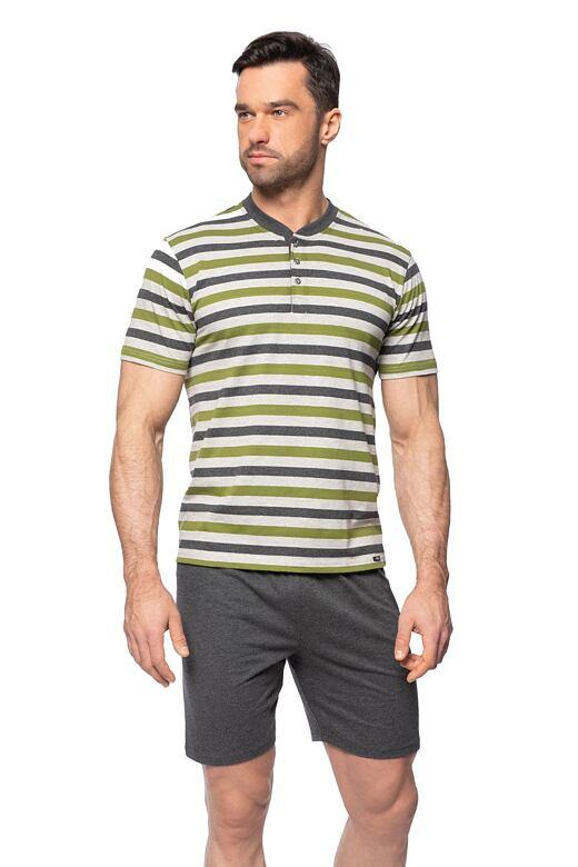 Krátke pánske pyžamo Marek šedé zelené pruhy