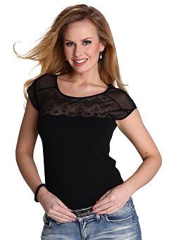 900a6cf09b15 Dámske tričko Marita čierne s čipkou ...
