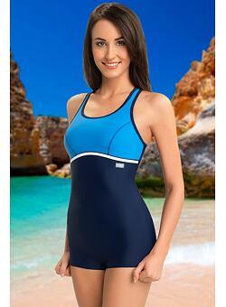 3310e3947 Doprava zadarmo Jednodielne športové plavky s nohavičkou Ines modré