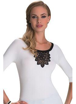 5460b4ec013a -26% Dámske tričko Estela ecru s čiernou čipkou