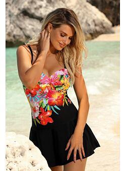 9493d4f8e226 Nové Doprava zadarmo Jednodielne plavky s všitou sukničkou Nicole čierna s  kvetmi