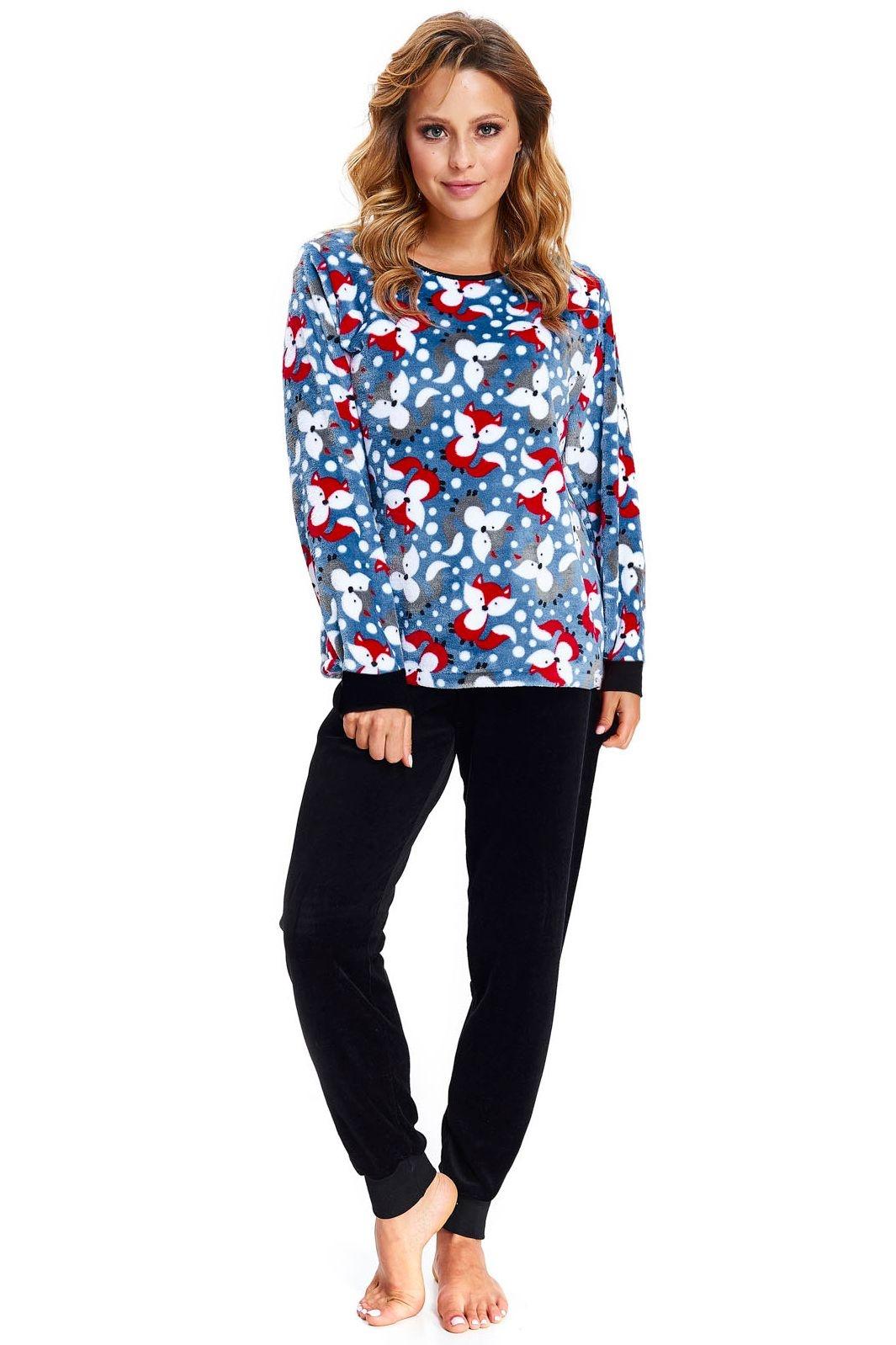 39a06c903fed Dámské soft pyžamo Foxie modré s liškami s dlouhými rukávy