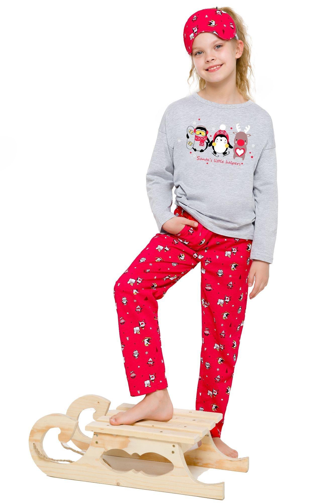 687905da1da1 Dievčenské pyžamo s tučniakom Sofinka sivo-červené - ELEGANT.sk