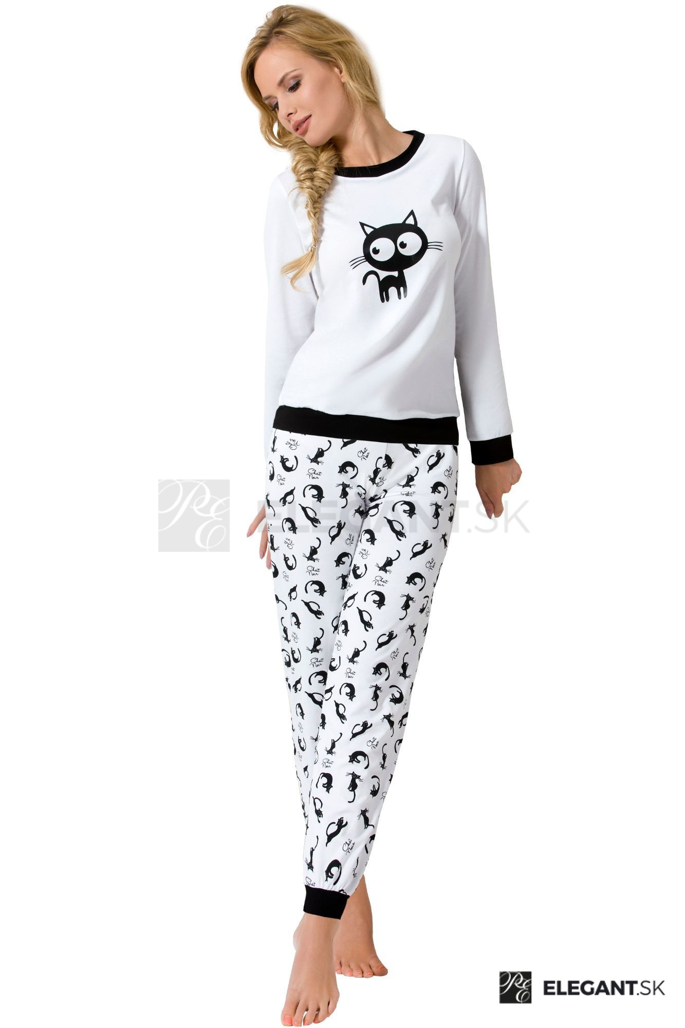 b012a0238b6f Luxusní dámské bavlněné pyžamo Black cat se vzorem koček antibakteriální s  dlouhými rukávy