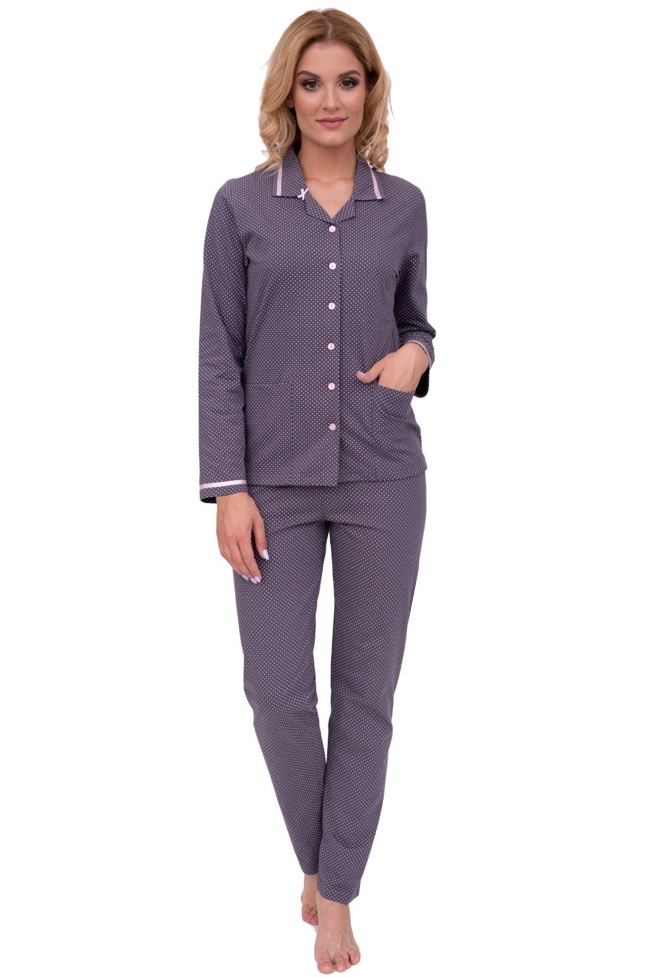 9c8f9de83b90 Luxusní dámské bavlněné pyžamo Iva puntíky s dlouhými rukávy