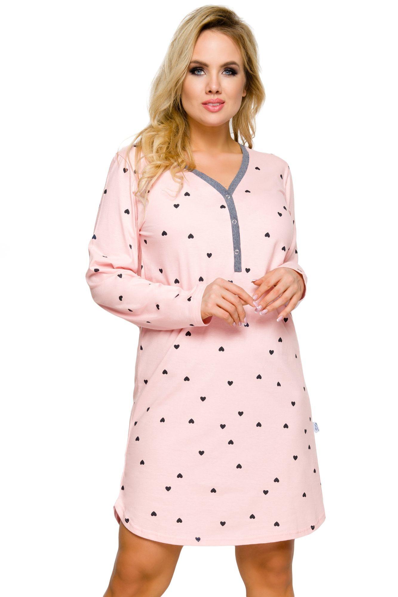f741f42224e3 Dámska nočná košeľa Tamara ružová srdiečka - ELEGANT.sk