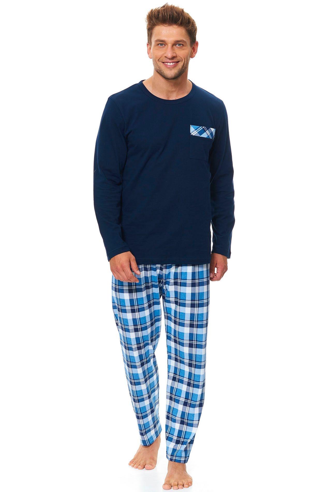 e7b4e91a8af4 Pánske bavlnené pyžamo Tom tmavo modré dlhé - ELEGANT.sk