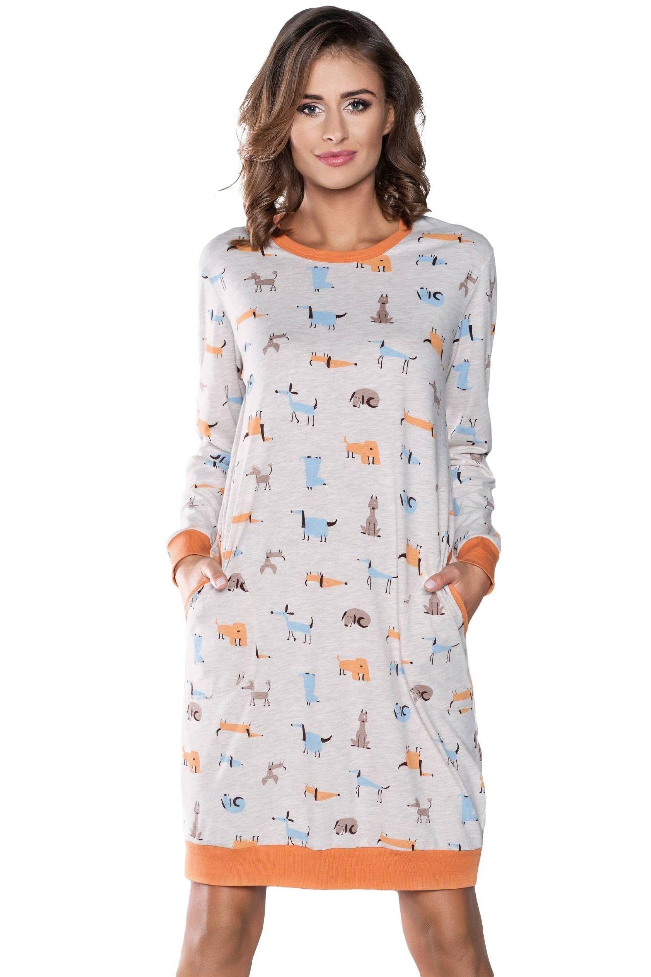 4fc4190fa057 Dámska nočná košeľa Asta vzor psov - ELEGANT.sk