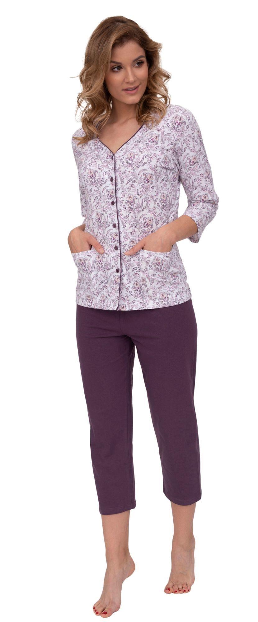 474410115c61 Luxusné dámske pyžamo Petra orientálny vzor vínové - ELEGANT.sk
