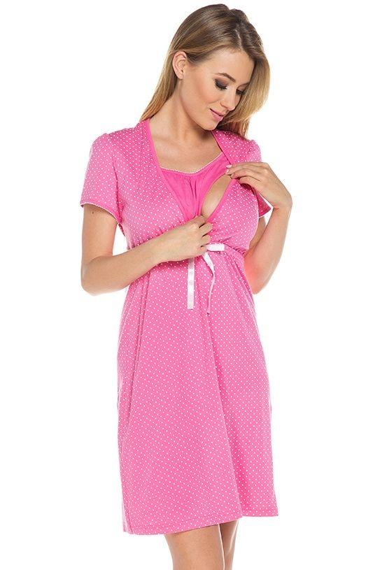 cbc9080cb4ef Bavlnená tehotenská nočná košeľa Alena ružová - ELEGANT.sk