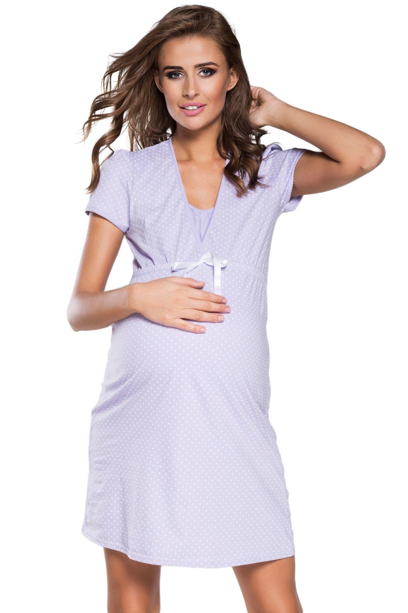 851dab97608a Bavlnená tehotenská nočná košeľa Alena svetlo fialová - ELEGANT.sk