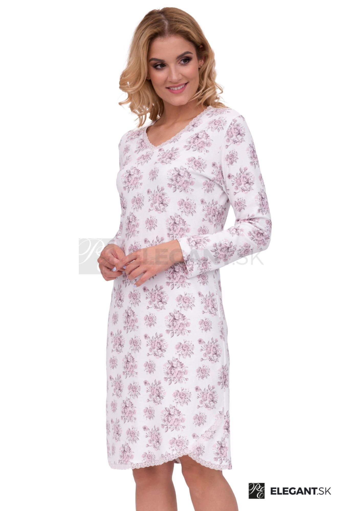 fd0528027f55 Luxusná dámska nočná košeľa Marie ecru ruže - ELEGANT.sk