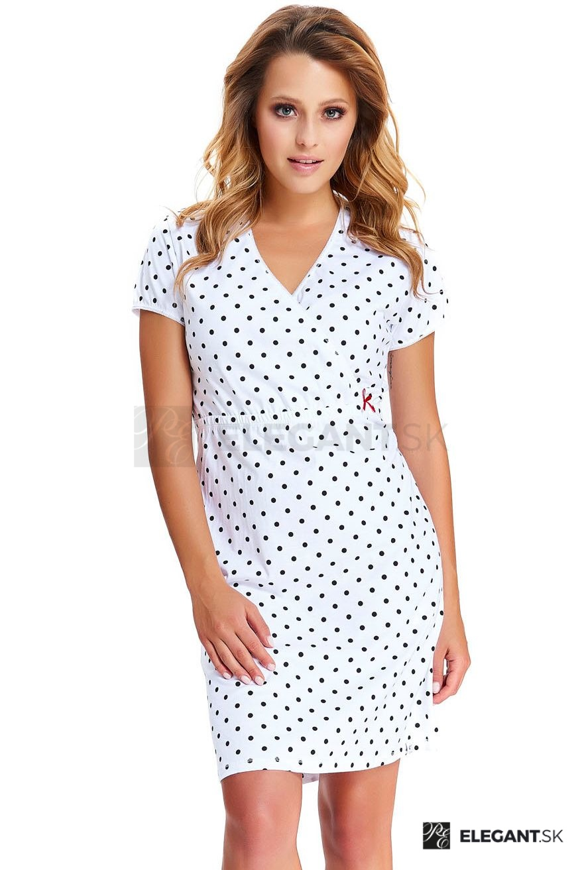 ca612c28bfb1 Materská nočná košeľa Pamela biela s bodkami - ELEGANT.sk
