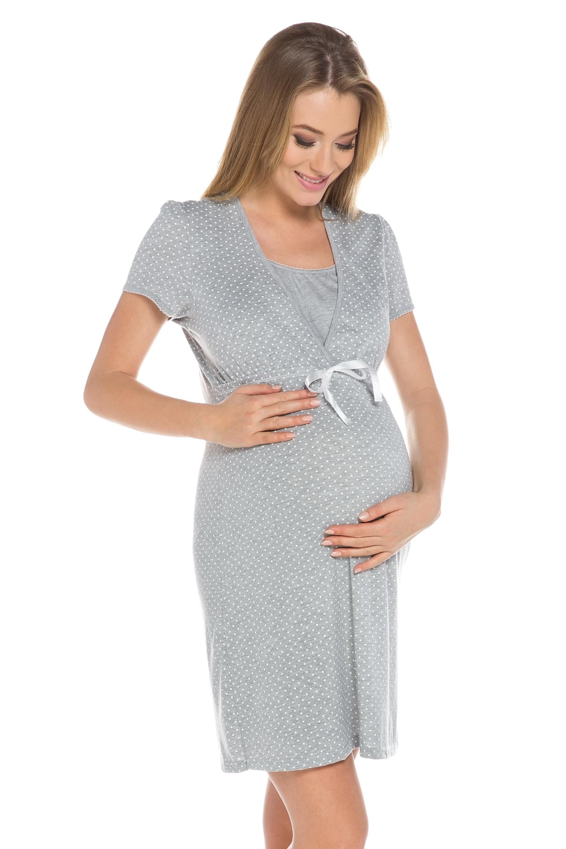 7990bae15537 Bavlnená tehotenská nočná košeľa Alena sivá - ELEGANT.sk