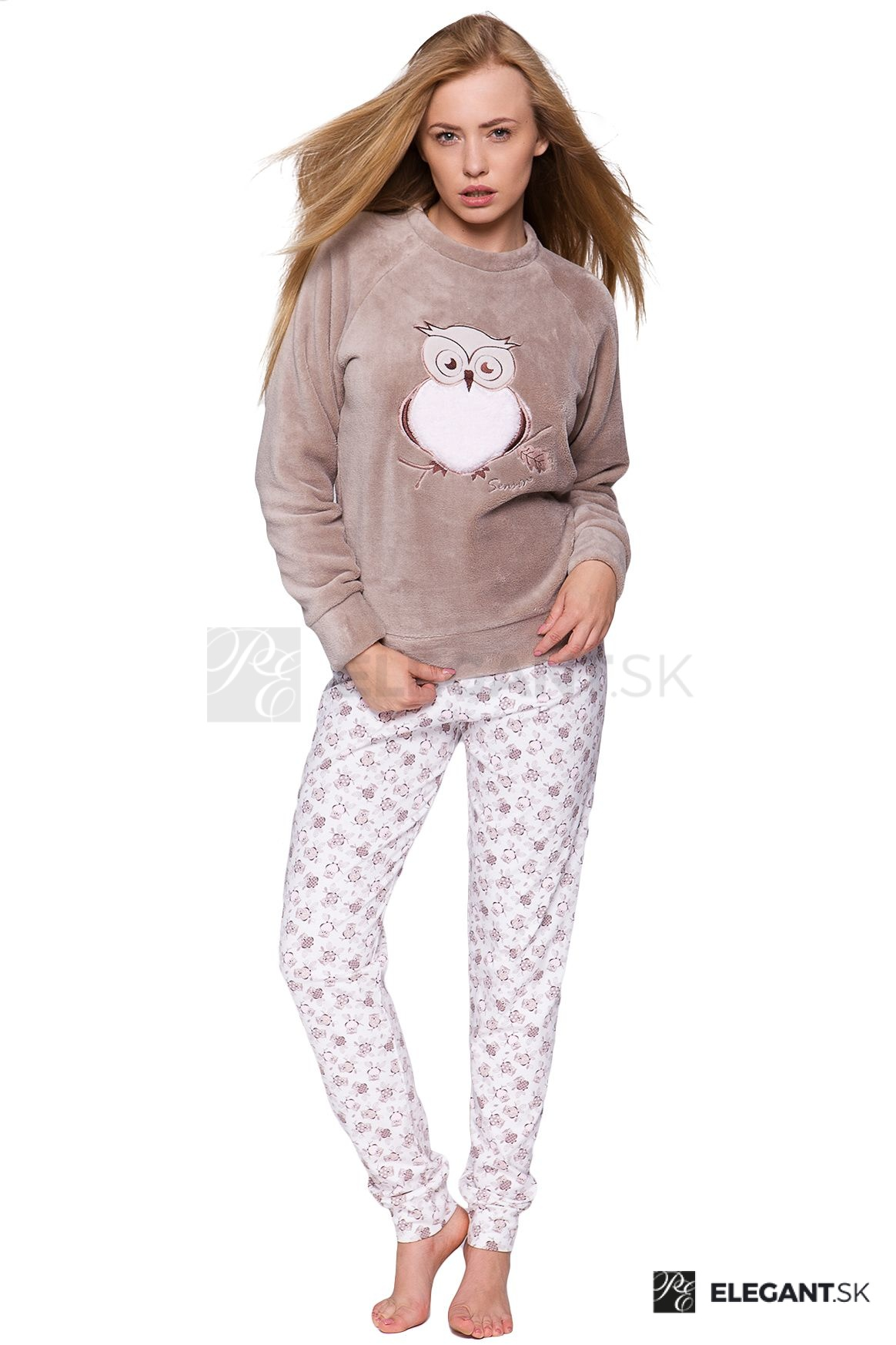 0aafc24b3e75 Dámske hrejivé soft pyžamo Sova béžové - ELEGANT.sk