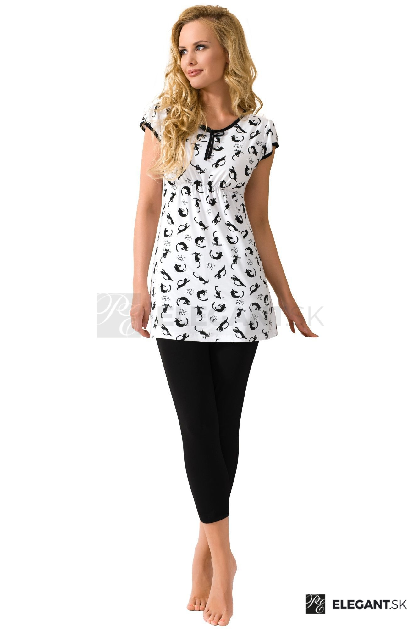 37420f58107f Luxusné bavlnené dámske pyžamo Lotta antibakteriálne s mačičkami ...
