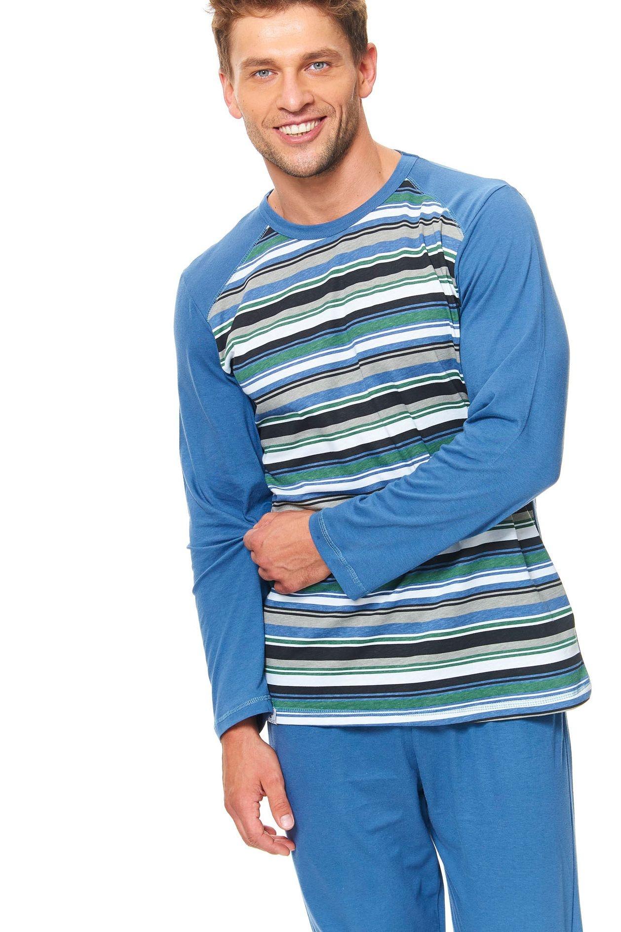 aa27850a8 Pánske bavlnené pyžamo Henry zelené prúžky - ELEGANT.sk