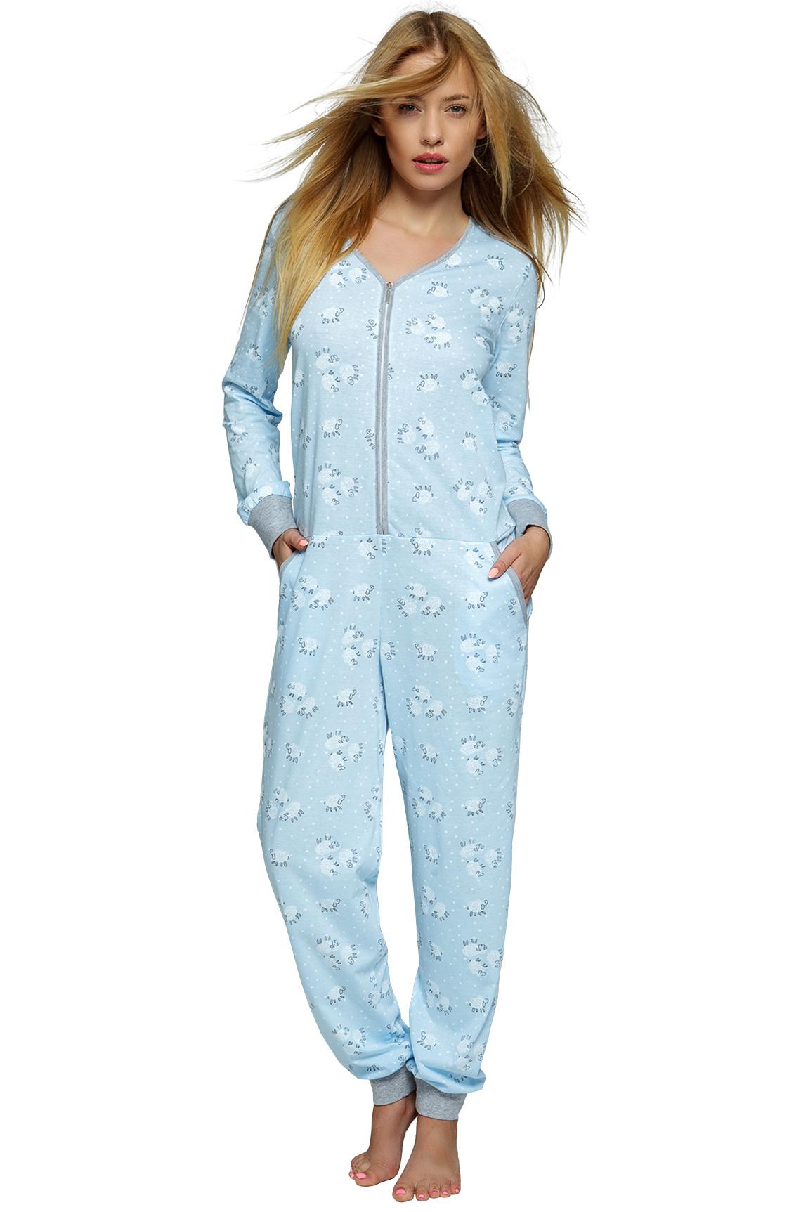 Dámsky modrý bavlnený overal na spanie Blue sheep zips - ELEGANT.sk 868287d621